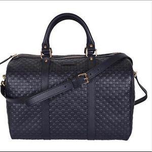 Gucci Micro Guccissima Boston Dark Bag Blue